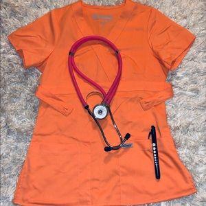 Grey's Anatomy- BY BARCO XXS Orange scrub top
